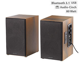 auvisio Aktives Stereo-Regallautsprecher-Set im Holz-Gehäuse mit Bluetooth auvisio Aktive Bluetooth-Stereo-Regallautsprecher-Sets mit USB-Ladeports