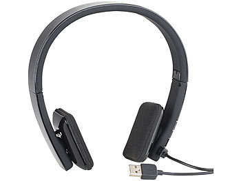 auvisio Faltbares On-Ear-Headset mit Bluetooth, Auto-Pairing, Multipoint, 30 m auvisio Faltbare Bluetooth-Headsets (On-Ear)