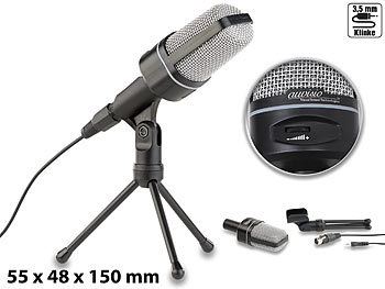 Profi-Kondensator-Studio-Mikrofon mit Stativ, 3,5-mm-Klinkenstecker / Mikrofon