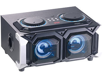 auvisio 2.1-Stereo-Partyanlage, Bluetooth mit Karaoke-Funktion, 100 W, USB, SD auvisio Mobile Party-Audioanlagen mit Karaoke-Funktionen