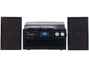 auvisio 5in1-Plattenspieler mit DAB+//FM-Radio Bluetooth CD//Kassetten-Player
