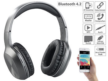 Kopfhörer Radio: auvisio Over-Ear-Headset, Bluetooth, MP3, FM & Auto Connect, microSD bis 64 GB