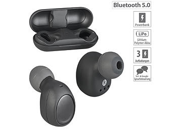 Funk Ohrhörer: auvisio True Wireless In-Ear-Headset, Bluetooth 5, Ladebox, 26 Std. Spielzeit