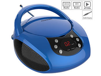 Kinderradio: auvisio Tragbarer Stereo-CD-Player mit Radio, Audio-Eingang & LED-Display