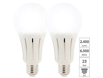 LED-Lampen E27 kaltweiß: Luminea 2er-Set High-Power-LED-Lampen E27, 24 Watt, 2.452 Lumen, 6.500 K