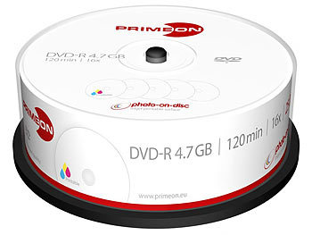 DVD Rohlinge: PRIMEON DVD-R, 4.7 GB, 16x, photo-on-disc, Inkjet Fullsize Printable, 25er-Box