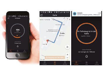 Lescars 2in1: Car-Finder & MFi  iPhone Lightning Ladekabel, Bluetooth, App Lescars iPhone-Ladekabel & Standortmarker mit Bluetooth