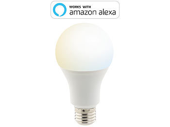 Luminea Home Control WLAN-LED-Lampe, komp. zu Amazon Alexa & Google Assistant, E27, weiß Luminea Home Control E27-LED-Lampen, kompatibel zu Amazon Alexa & Google Assistant