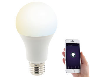Luminea WLAN-LED-Lampe, komp. zu Amazon Alexa & Google Assistant, E27, weiß Luminea