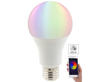 Luminea WLAN-LED-Lampe, komp. mit Amazon Alexa & Google Assistant, E27, RGBW Luminea E27-RGBW-LED-Lampen, kompatibel zu Amazon Alexa & Google Assistant