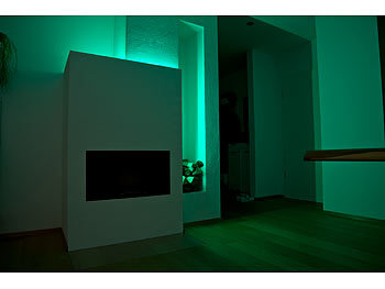 Luminea WLAN-LED-Streifen in RGB, 2 m, Amazon Alexa & Google Assistant komp. Luminea WLAN-LED-Streifen-Sets in RGB, kompatibel zu Amazon Alexa & Google Assistant