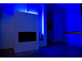 Luminea WLAN-LED-Streifen in RGB, 5 m, Amazon Alexa & Google Assistant komp. Luminea WLAN-LED-Streifen-Sets in RGB, kompatibel zu Amazon Alexa & Google Assistant