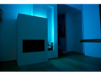 Luminea WLAN-LED-Streifen, RGBW, 2 m, Amazon Alexa & Google Assistant komp. Luminea WLAN-LED-Streifen-Sets in RGB, kompatibel zu Amazon Alexa & Google Assistant