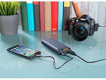 revolt USB-Powerbank im Slim-Design, 20.000 mAh, 2 USB-Ports, 2,4 A, 12 Watt revolt USB-Powerbanks