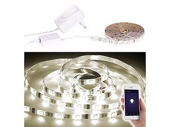 Luminea Lichtstreifen: WLAN LED Streifen, 2m, warmweiß