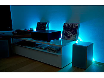 luminea led leuchtstreifen wlan led streifen in rgb 5 m amazon alexa google assistant komp. Black Bedroom Furniture Sets. Home Design Ideas