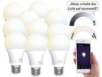 Luminea Home Control Leuchten Alexa: 10 WLAN LED Lampen, E27