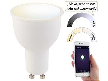 Luminea WLAN-LED-Lampe, komp. zu Amazon Alexa & Google Assistant, GU10, weiß Luminea GU10-LED-Lampen, kompatibel zu Amazon Alexa & Google Assistant