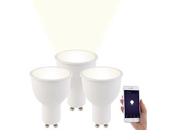 Smart Lampen: Luminea 3er-Set WLAN-LED-Lampen, Amazon Alexa & Google Assistant komp., GU10