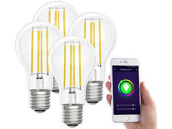 WLAN LED Lampen: Luminea Home Control LED-Filament-Lampe, komp. zu Amazon Alexa / GA, 6500 K 4er-Set
