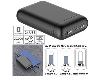 Supercharge-Powerbank: revolt USB-Powerbank mit 20 Ah, Quick Charge, PD und Super Charge, 22,5 Watt