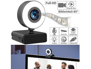 Kamera Webcam: Somikon Full-HD-USB-Webcam mit LED-Ringlicht, Autofokus, Dual-Mikrofon, 30 fps