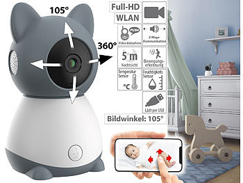 Netzwerkkamera: 7links WLAN-Video-Babyphone, per App dreh- & schwenkbares Objektiv, Full-HD
