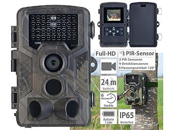 Wildcamera: VisorTech Full-HD-Wildkamera mit 3 PIR-Sensoren, Nachtsicht, Farbdisplay, IP65