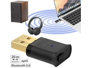 Bluetooth Adapter: PEARL USB-Audio-Transmitter mit Bluetooth 5 und aptX HD, 20 m