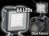 Somikon Foto- und<br />Videoleuchte mit 64 Tageslicht-LED...