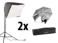 Somikon Softbox mit<br />Reflektorschirm und 4 Fotolampen...