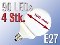 LED-Lampe Globe, 90<br />LEDs, kaltwei&szlig;, E27 (230V) 4er-P...