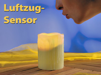 LED-Echtwachs-Kerze<br />Lunartec &quot;Glow by Blow&quot; mit Luft...