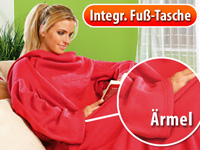 Fleece-Kuscheldecke mit<br />&Auml;rmeln, weinrot