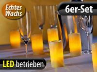 Lunartec Echtwachs-LED-<br />Kerzen mit Ladestation