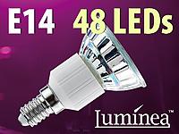Luminea SMD-LED-Lampe<br />E14, 48 LEDs, warmwei&szlig;, 250-26...
