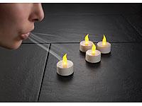Lunartec LED-Teelichter<br />mit Luftzugsensor, 4er-Set