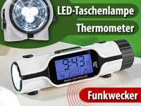 PEARL 3in1 LCD-Funkwecker mit Thermometer & Highpower-LED-Taschenlampe PEARL Funkwecker