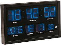 Lunartec Multi LED Funk Uhr Mit Datum Und Temperatur, 412 Blaue LEDs