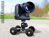 Somikon Skateboard-<br />Dolly mit Kugelkopf-Kamerastativ