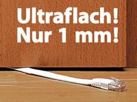 Fibrionic Lan Kabel Flach Netzwerk Kabel Cat5e Flach Weiss 10m