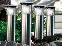 lunartec led wegeleuchten set edelstahl solar wegeleuchte leuchtturm mit lichtsensor 4er. Black Bedroom Furniture Sets. Home Design Ideas