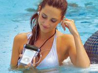 Wasserfestes MP3-Set:<br />Schutztasche f&uuml;r Player bis 90...