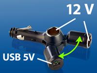 revolt Kfz-Dreifach-<br />Verteiler (2x12V + 1xUSB) mit No...