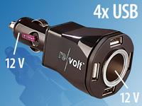 revolt 5-fach Kfz-<br />Verteiler &amp; Ladestation mit 4x USB...