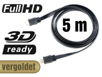auvisio HDMI-1.4-Flachkabel High-Speed, vergoldet, 5 m, 3,7 mm flach auvisio HDMI-Flach-Kabel