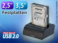 USB-Docking-Station f&uuml;r<br />2,5&quot; &amp; 3,5&quot; SATA-Festplatten