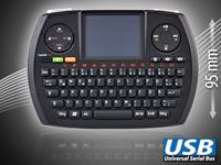 GeneralKeys Micro-MCE-<br />Funktastatur QWERTZ mit Touch-...