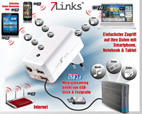 7links 4in1-Mini-WLAN-<br />Router CLD-400.travel, Media-S...