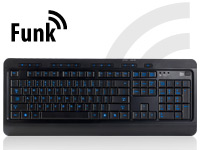 GeneralKeys USB-<br />Multimedia-Funktastatur mit Beleucht...